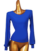 cheap -Ballroom Dance Top Split Joint Women's Training Long Sleeve Chinlon Mesh