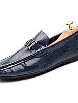 cheap -Men's Spring & Summer / Fall & Winter Classic / British Daily Home Loafers & Slip-Ons Walking Shoes Nappa Leather Black / Blue