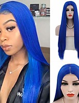 cheap -Synthetic Lace Front Wig Natural Straight Silky Straight Middle Part Lace Front Wig Long Royal Blue Synthetic Hair 16-26 inch Women's Cosplay Heat Resistant Party Blue