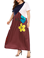 cheap -Women's Shift Dress Maxi long Dress - Short Sleeves Floral Color Block Summer Casual 2020 Brown M L XL XXL XXXL