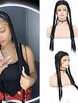 Недорогие -Синтетические кружевные передние парики Косые оплетки переплетенный Средняя часть тесьма С пушком Полностью ленточные Парик Длинные Черный Искусственные волосы 18-26 дюймовый Жен.