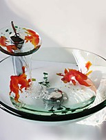 cheap -Round Carved Goldfish Tempered Glass Vessel Sink with Waterfall Faucet Pop - Up Drain and Mounting Ring