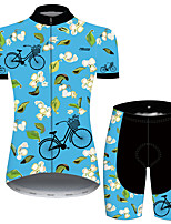 cheap -21Grams Women's Short Sleeve Cycling Jersey with Shorts Blue Floral Botanical Bike Breathable Quick Dry Sports Patterned Mountain Bike MTB Road Bike Cycling Clothing Apparel / Micro-elastic