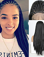 cheap -Synthetic Lace Front Wig Box Braids Plaited with Baby Hair Lace Front Wig Pink Long Black#1B Synthetic Hair 18 24 inch Women's Women Faux Locs Wig Braided Wig Black Pink