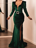 cheap -Mermaid / Trumpet Elegant Green Wedding Guest Formal Evening Dress V Neck Long Sleeve Sweep / Brush Train Velvet with Sash / Ribbon Ruched Split 2020