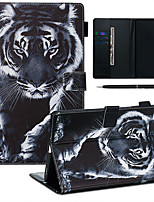 cheap -A Case With A Pen Samsung Galaxy Samsung Tab T585/590/515/725/580/595/510/720 with Stand / Flip / Ultra-thin Back Cover Tiger PU Leather