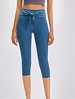 cheap -Women's High Waist Yoga Pants Black Dark Gray Green Blue Light gray Elastane Running Fitness Gym Workout 3/4 Capri Pants Sport Activewear Breathable Tummy Control Butt Lift Moisture Wicking High