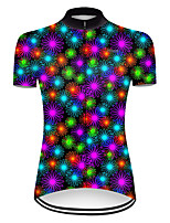 cheap -21Grams Women's Short Sleeve Cycling Jersey Polyester Black / Red Gradient Floral Botanical Bike Jersey Top Mountain Bike MTB Road Bike Cycling Breathable Quick Dry Ultraviolet Resistant Sports