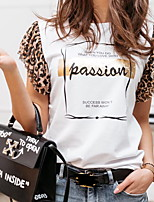 cheap -Women's Leopard Letter T-shirt Daily Weekend White / Black