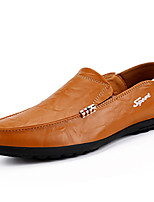 cheap -Men's Summer Casual Daily Loafers & Slip-Ons PU Non-slipping Black / Yellow / Brown