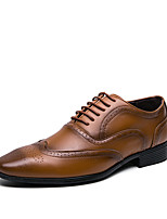 cheap -Men's Summer / Fall Daily Office & Career Oxfords Faux Leather Light Brown / Black / Yellow