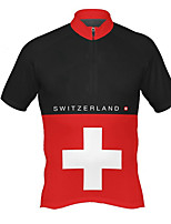 cheap -21Grams Men's Short Sleeve Cycling Jersey Polyester Black / Red Switzerland National Flag Bike Jersey Top Mountain Bike MTB Road Bike Cycling UV Resistant Breathable Quick Dry Sports Clothing Apparel