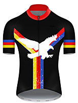 cheap -21Grams Men's Short Sleeve Cycling Jersey Polyester Black / Red Animal Eagle National Flag Bike Jersey Top Mountain Bike MTB Road Bike Cycling Breathable Quick Dry Ultraviolet Resistant Sports