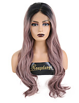 cheap -Synthetic Lace Front Wig Wavy Middle Part Lace Front Wig Ombre Long Pink Synthetic Hair 18-26 inch Women's Cosplay Soft Party Purple Ombre