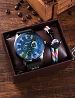cheap -Men's Sport Watch Quartz PU Leather Green Chronograph New Design Casual Watch Analog Classic Fashion - Green