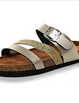 cheap -Women's Sandals Flat Sandal Summer Flat Heel Open Toe Daily PU Gold / Silver