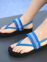 cheap -Women's Sandals Summer Flat Heel Open Toe Daily Outdoor Satin / Nylon Black / Light Red / Blue