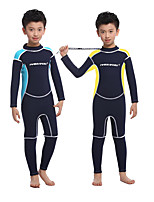 cheap -Boys' Full Wetsuit 2.5mm SCR Neoprene Diving Suit Long Sleeve Back Zip Knee Pads Solid Colored Autumn / Fall Spring Summer / High Elasticity / Kids