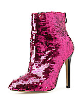 cheap -Women's Boots Fall & Winter Stiletto Heel Pointed Toe Daily PU Mid-Calf Boots Fuchsia