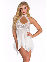 cheap -Women's Lace / Backless Suits Nightwear Color Block Wine Blue White S M L