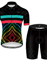cheap -21Grams Men's Short Sleeve Cycling Jersey with Shorts Polyester Black / Red Polka Dot Gradient Bike Clothing Suit Breathable Quick Dry Ultraviolet Resistant Reflective Strips Sweat-wicking Sports