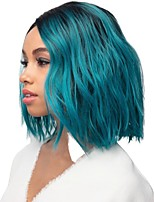 cheap -Synthetic Wig Curly Matte Side Part Wig Long Black / Blue Synthetic Hair 14 inch Women's Cool Ombre Hair Fluffy Blue
