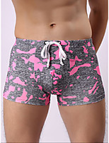cheap -Men's Print Boxers Underwear - Normal Mid Waist Blushing Pink Orange Green S M L