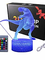 cheap -Dinosaur 3D Night Light Touch Table Desk Lamp 16 Colors 3D Optical Illusion Lights with Acrylic Flat & ABS Base & USB Cabler for Christmas Gift