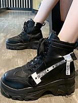 cheap -Women's Boots Fall / Winter Platform Round Toe Daily PU Mid-Calf Boots Black / Beige