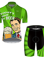cheap -21Grams Men's Short Sleeve Cycling Jersey with Shorts Polyester Black / Green Polka Dot Gradient Oktoberfest Beer Bike Clothing Suit Breathable Quick Dry Ultraviolet Resistant Reflective Strips