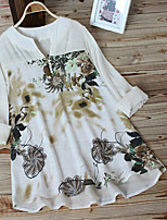 cheap -Women's Floral Patchwork Print Blouse Basic Daily White / Purple / Beige