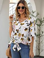 cheap -2020 SUMMER Floral Print Chiffons Blouse
