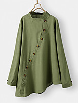 cheap -Women's Solid Colored Asymmetric Blouse Chinoiserie Daily Orange / Green