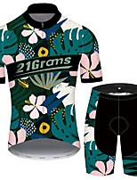 cheap -Men's Short Sleeve Cycling Jersey with Shorts Black / Blue Floral Botanical Bike UV Resistant Quick Dry Sports Patterned Mountain Bike MTB Road Bike Cycling Clothing Apparel / Stretchy