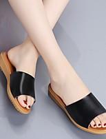 cheap -Women's Slippers & Flip-Flops Summer Flat Heel Open Toe Daily PU White / Black / Beige