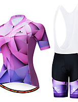 cheap -Miloto Women's Short Sleeve Cycling Jersey with Bib Shorts Purple White Bike Breathable Sports Patterned Mountain Bike MTB Road Bike Cycling Clothing Apparel / Stretchy
