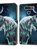 cheap -Case For LG Q70 / LG K50S / LG K40S Wallet Card Holder with Stand Full Body Cases Contemplative Wolf PU Leather TPU for LG K30 2019 LG K20 2019 LG X Power