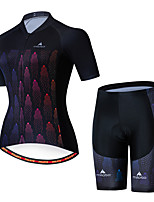 cheap -Miloto Women's Short Sleeve Cycling Jersey with Shorts Black / Red Bike Breathable Sports Patterned Mountain Bike MTB Road Bike Cycling Clothing Apparel / Stretchy