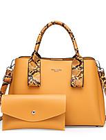 cheap -Women's Chain PU Bag Set Bag Sets Solid Color 2 Pieces Purse Set Black / Purple / Yellow / Fall & Winter