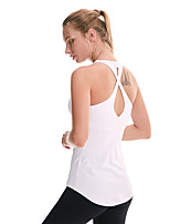 cheap -Women's Padded Tank Top Cross Back Removable Pad Fashion White Black Gray Elastane Yoga Running Fitness Vest / Gilet Top Sport Activewear Breathable Quick Dry Comfortable Freedom Stretchy