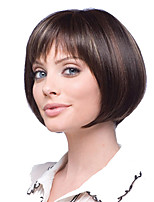 cheap -Synthetic Wig kinky Straight With Bangs Wig Short Light Brown Synthetic Hair 12 inch Women's Classic Women Easy dressing Light Brown