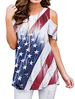 cheap -Women's National Flag American flag T-shirt Daily White / Blue / Red / Green / Navy Blue