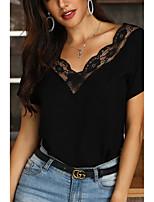 Недорогие -женская кружевная повседневная футболка