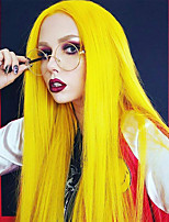 cheap -Synthetic Lace Front Wig Straight Side Part Lace Front Wig Long Yellow Synthetic Hair 18-26 inch Women's Soft Adjustable Party Yellow