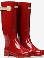cheap -Women's Boots Summer Flat Heel Round Toe Daily PU Over The Knee Boots Burgundy