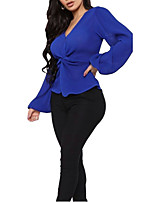 cheap -Women's Solid Colored Pleated Criss Cross Blouse Daily V Neck Blue