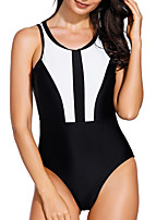 cheap -Women's One Piece Swimsuit Patchwork Padded Swimwear Bodysuit Swimwear Black Breathable Quick Dry Comfortable Sleeveless - Swimming Surfing Water Sports Summer / Elastane / Stretchy