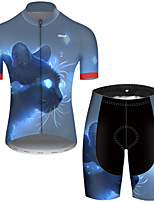 cheap -21Grams Men's Short Sleeve Cycling Jersey with Shorts Polyester Black / Blue Galaxy Cat Animal Bike Clothing Suit Breathable Quick Dry Ultraviolet Resistant Reflective Strips Sweat-wicking Sports