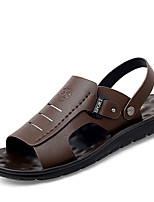 cheap -Men's Spring / Summer Casual / Beach Daily Outdoor Sandals Cowhide Breathable Non-slipping Black / Brown