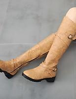 cheap -Women's Boots Fall / Winter Cuban Heel Round Toe Daily PU Black / Yellow / Army Green